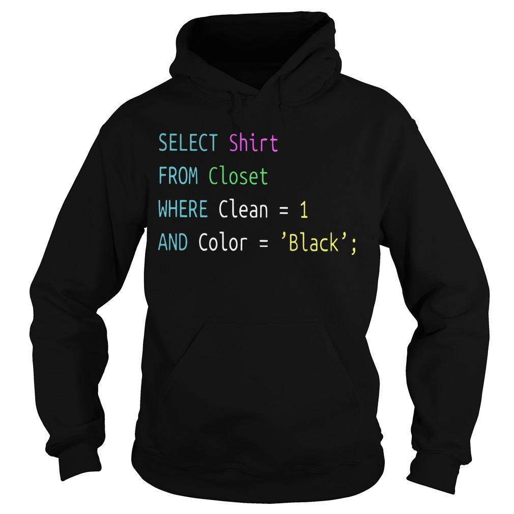 Select From Closet Where Clean 1 And Color Black Hoodie