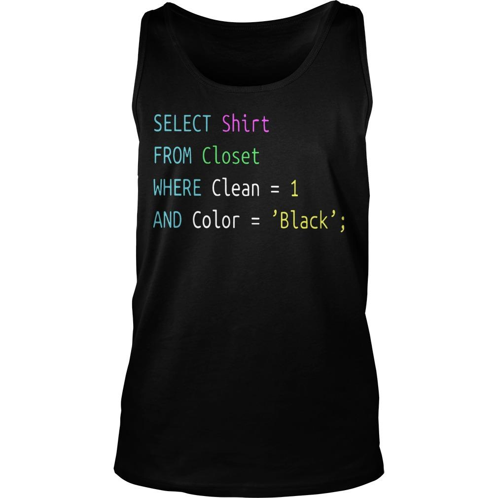 Select From Closet Where Clean 1 And Color Black Tank Top