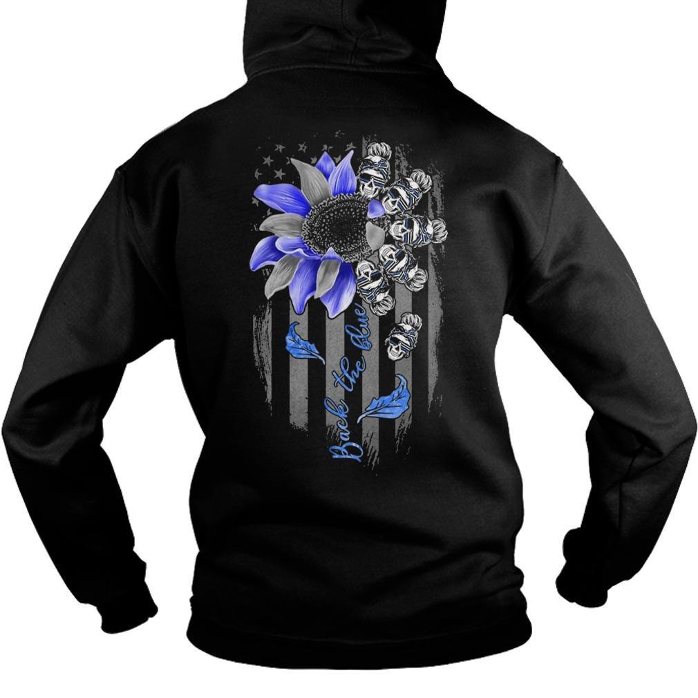 Sunflower Skull Girl Back The Blue Hoodie