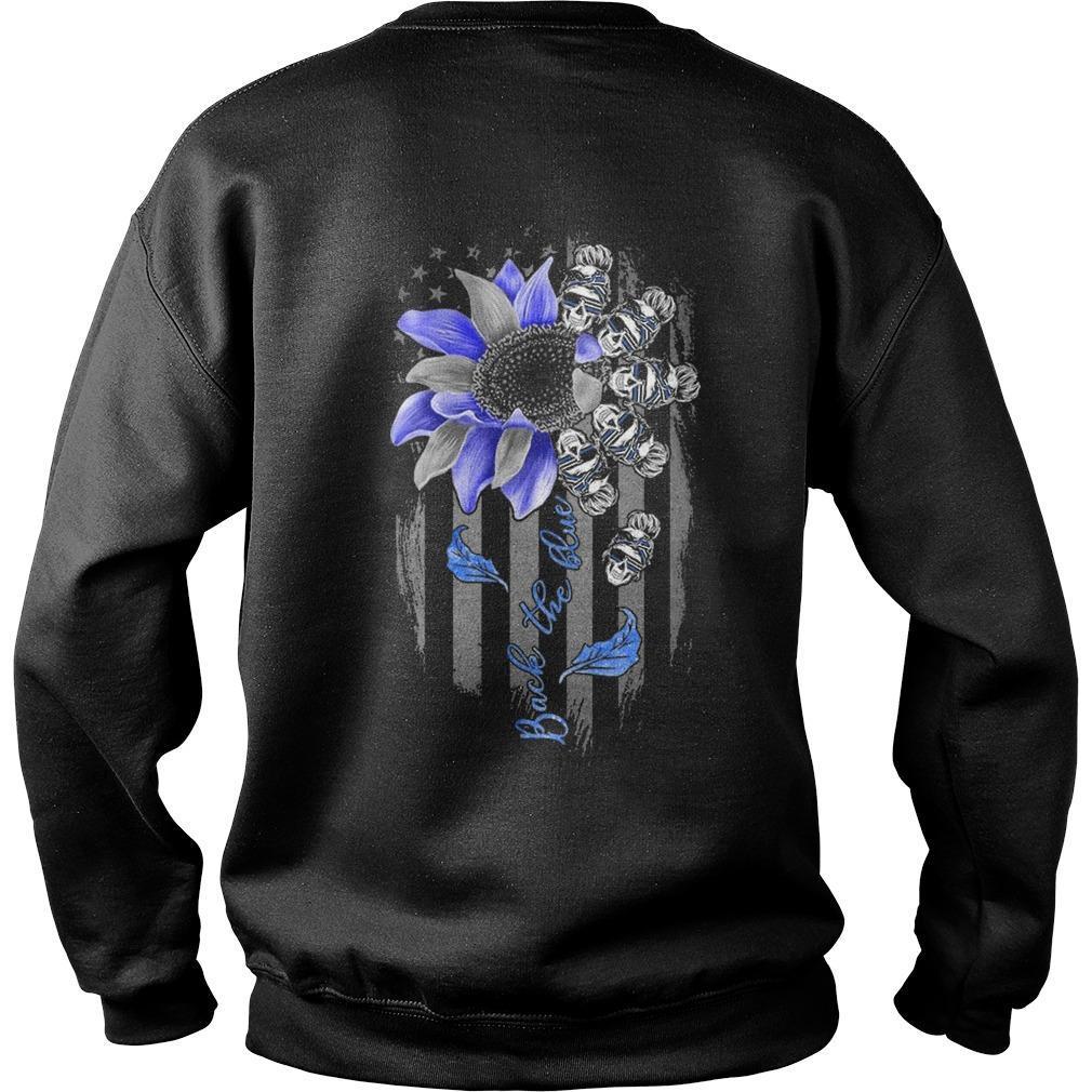 Sunflower Skull Girl Back The Blue Sweater