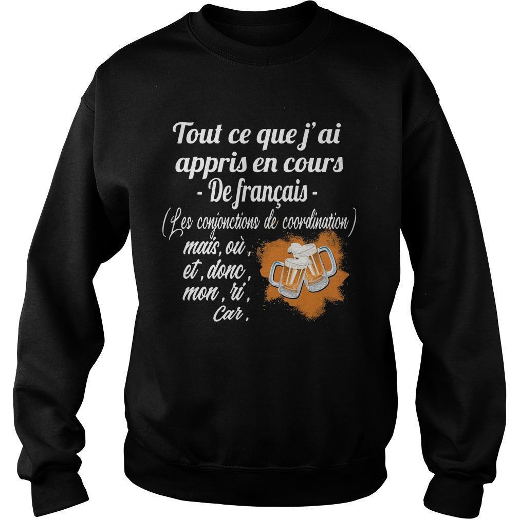 Tout Ce Que J'ai Appris En Cours De Français Les Conjonctions De Coordination Sweater
