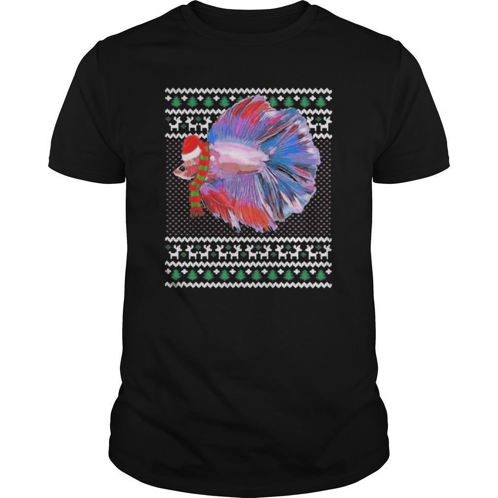 Ugly Christmas Santa Hat Betta Fish Longsleeve