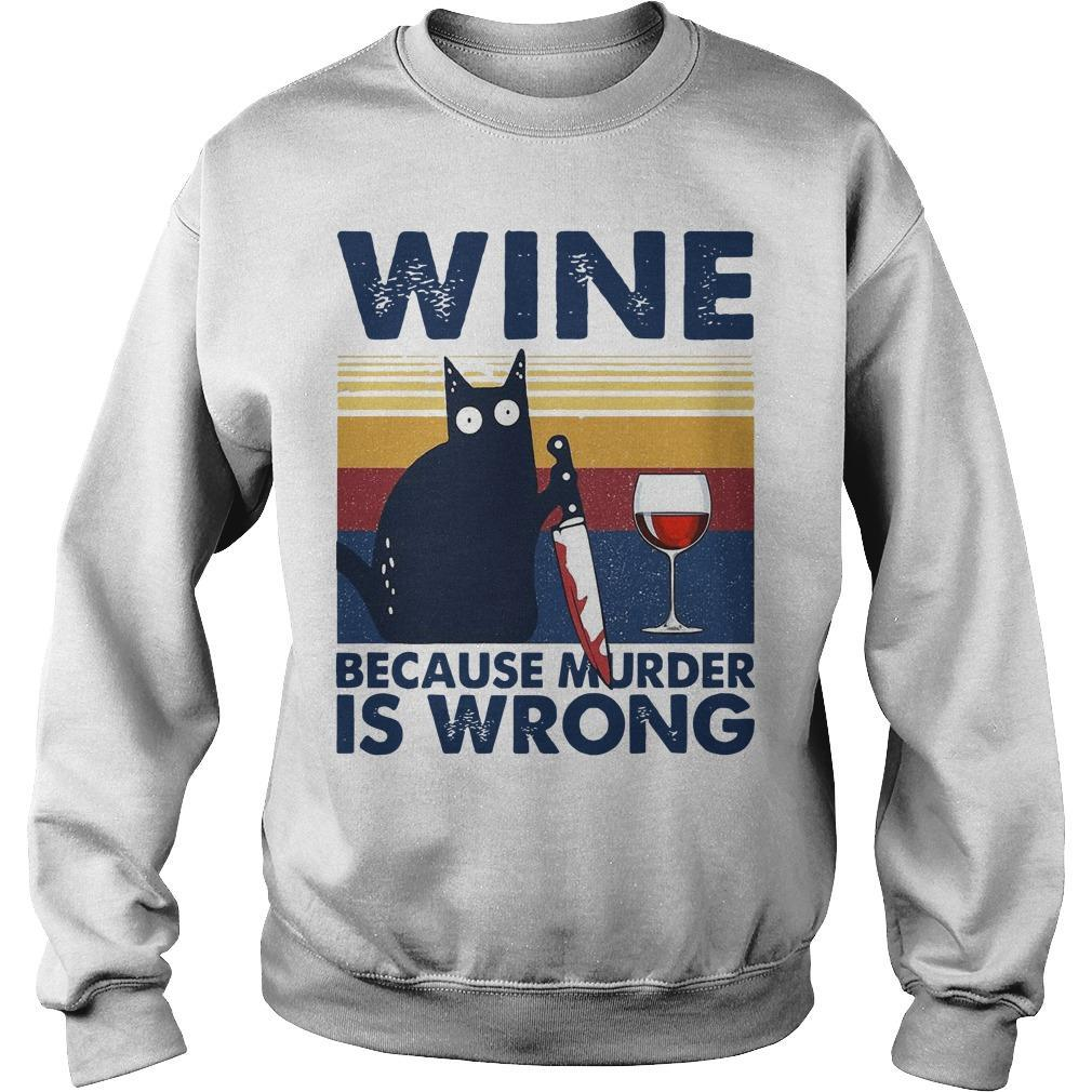 Vintage Black Cat Michael Myers Wine Because Murder Is Wrong Sweater