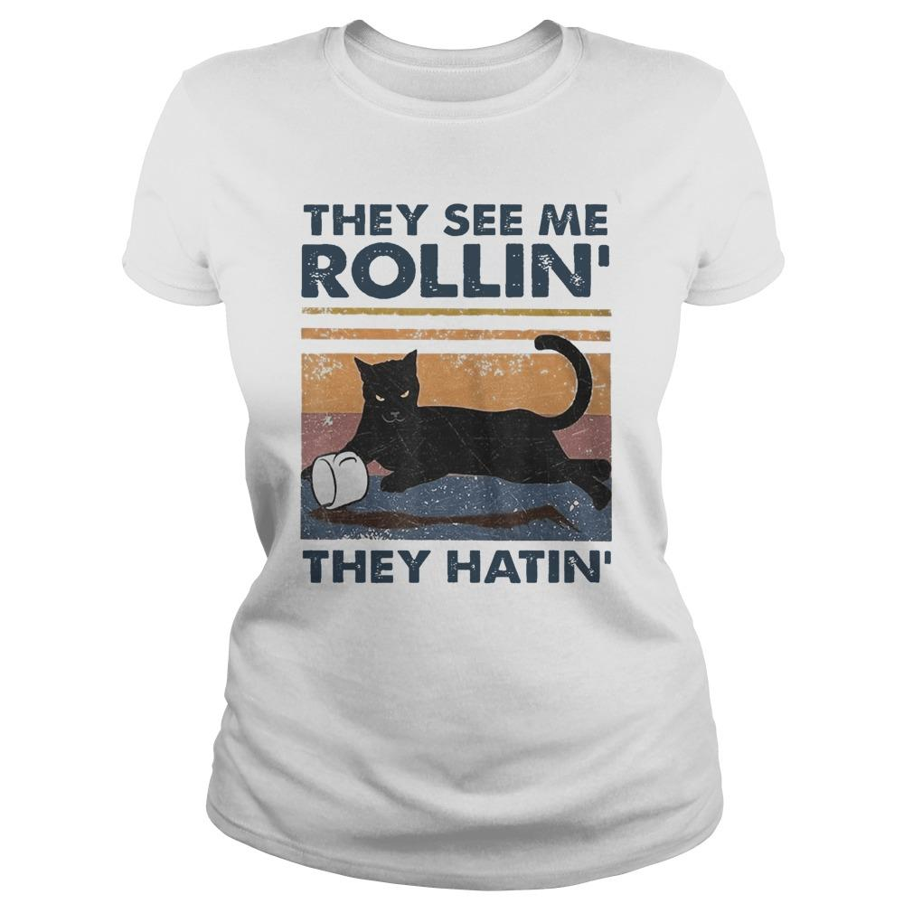 Vintage Black Cat They See Me Rollin' They Hatin' Longsleeve