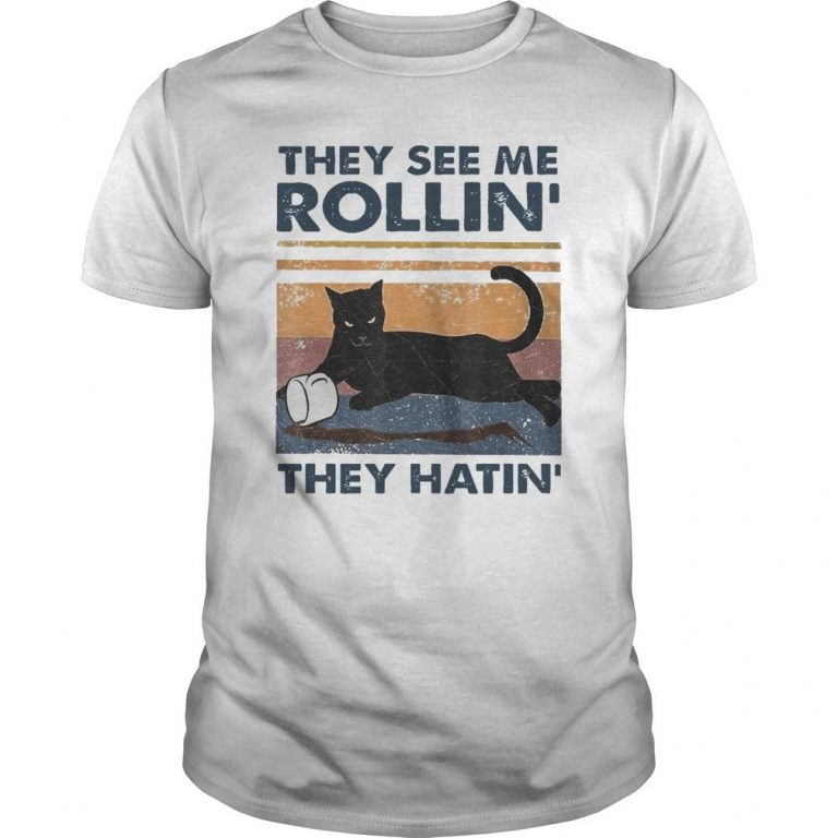 Vintage Black Cat They See Me Rollin' They Hatin' Shirt