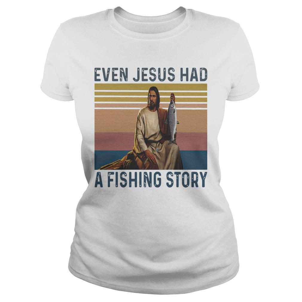 Vintage Even Jesus Had A Fishing Story Longsleeve