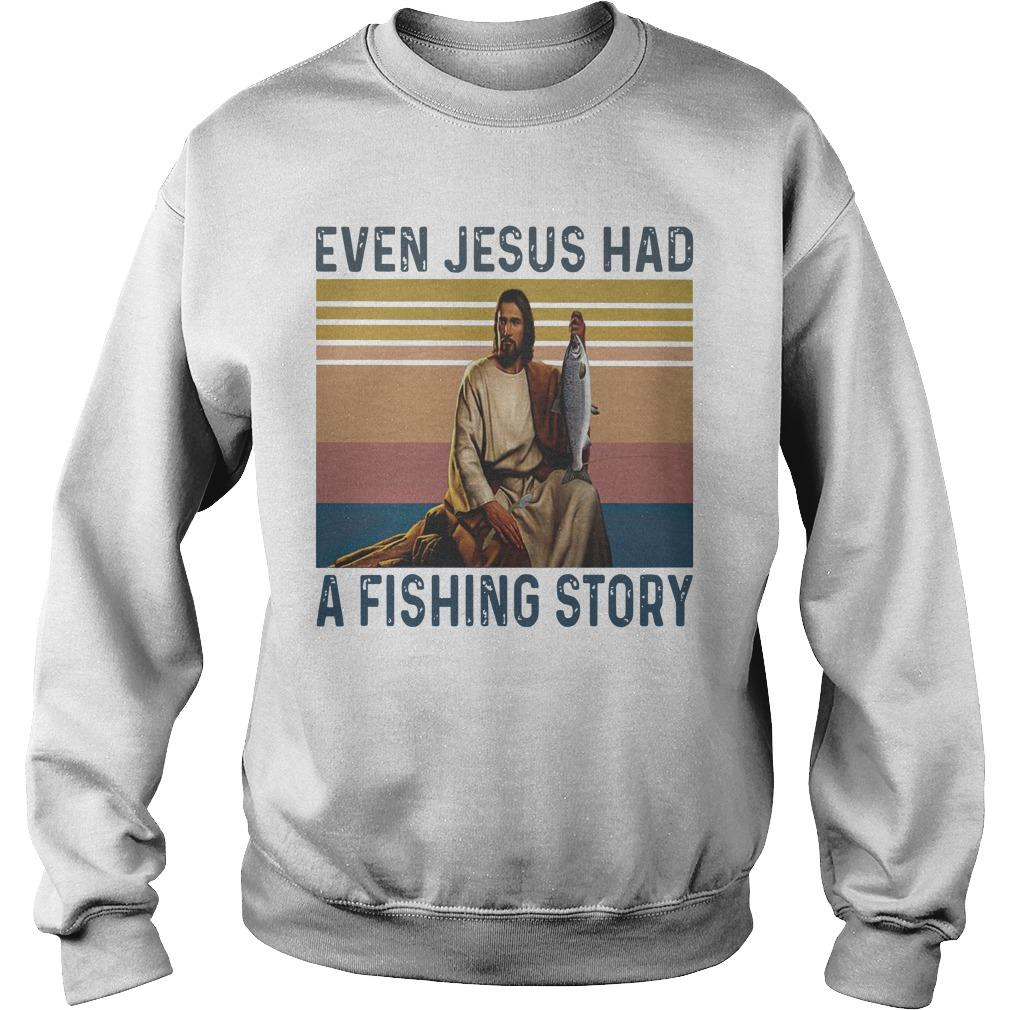 Vintage Even Jesus Had A Fishing Story Sweater