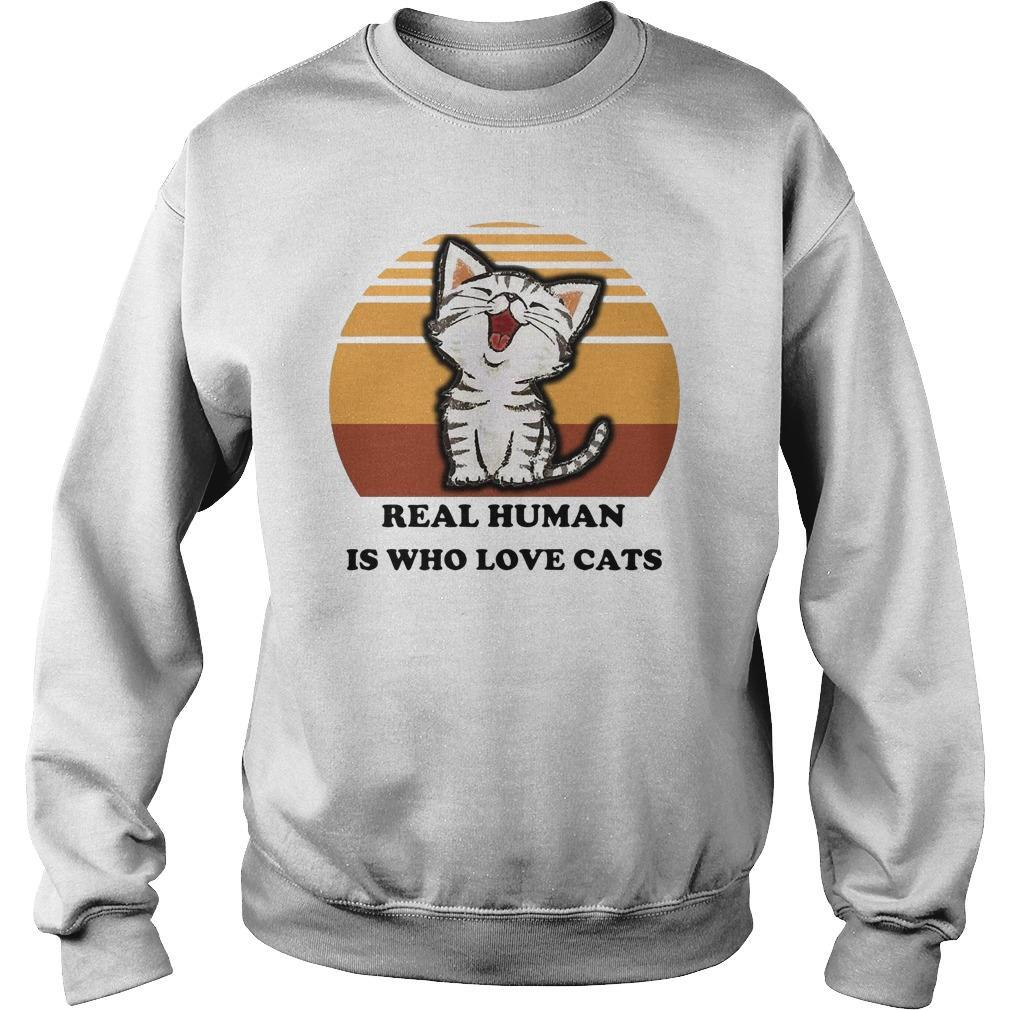 Vintage Real Human Is Who Love Cats Sweater