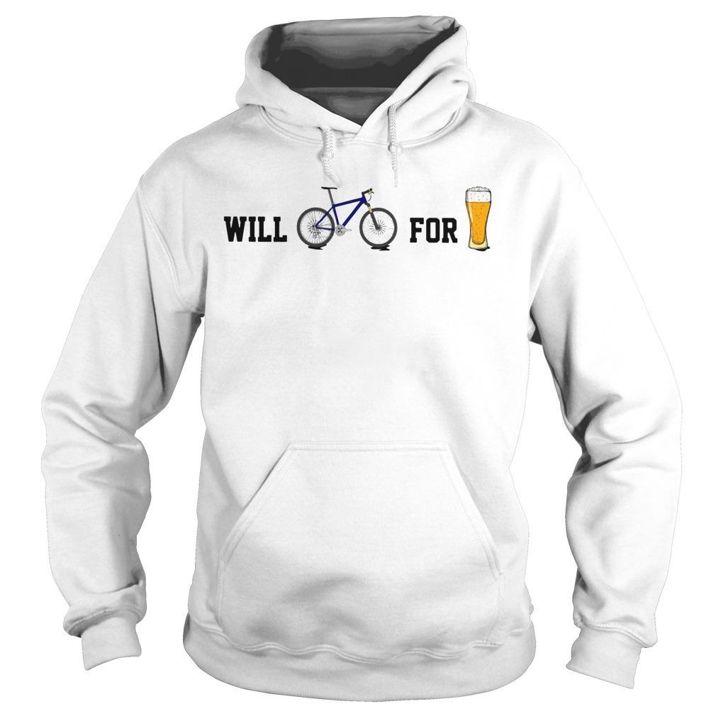 Will Bike For Beer Hoodie