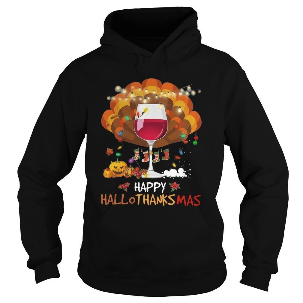 Wine Happy Hallothanksmas Hoodie