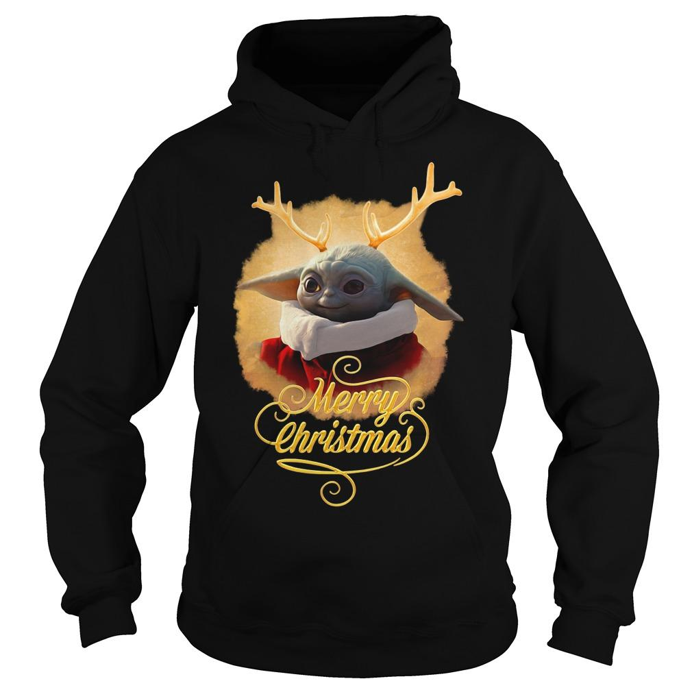 Baby Yoda Reindeer Merry Christmas Hoodie