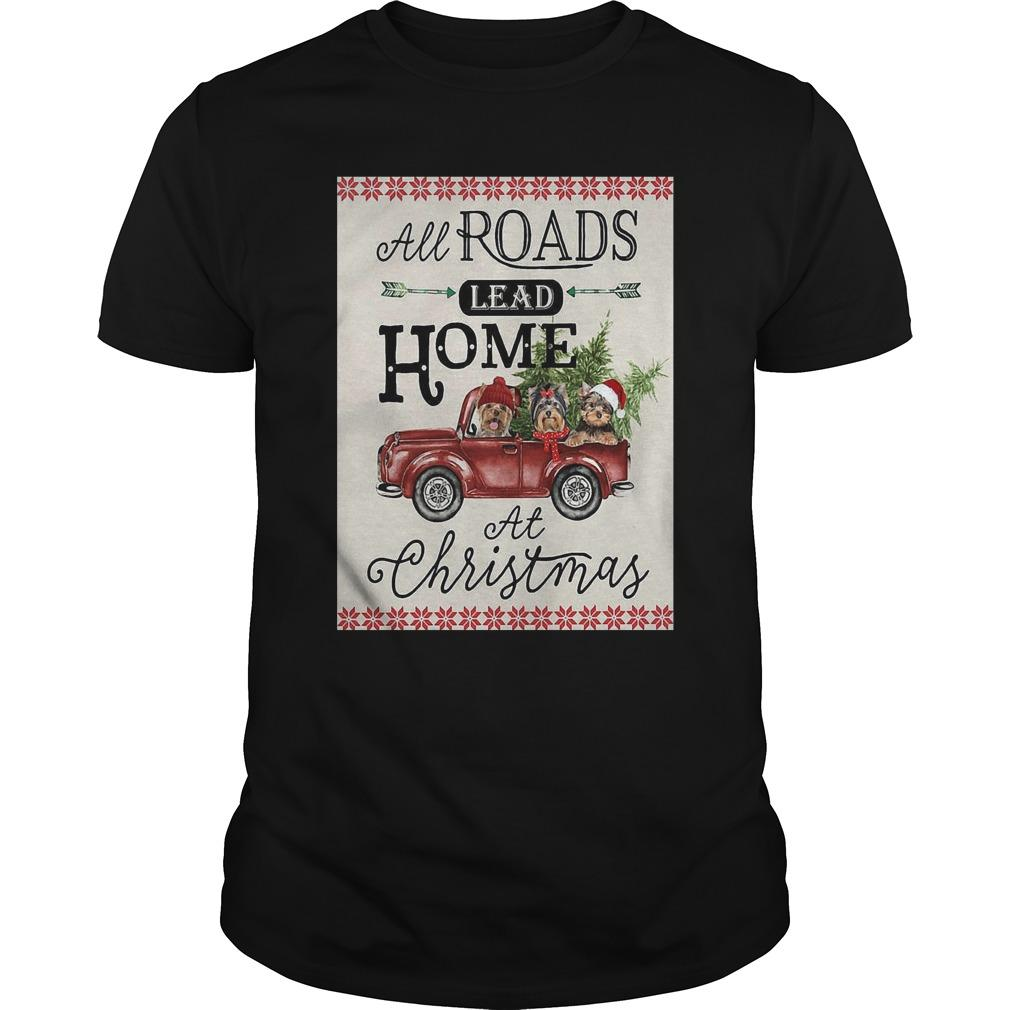 Bird Red Truck All Roads Lead Home At Christmas Longsleeve