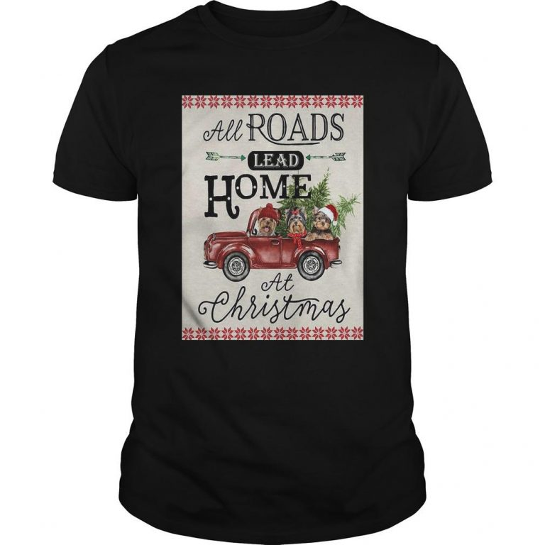Bird Red Truck All Roads Lead Home At Christmas Shirt