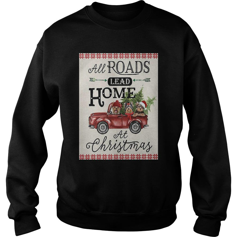 Bird Red Truck All Roads Lead Home At Christmas Sweater