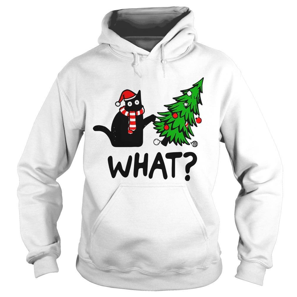 Black Cat Christmas Tree What Hoodie
