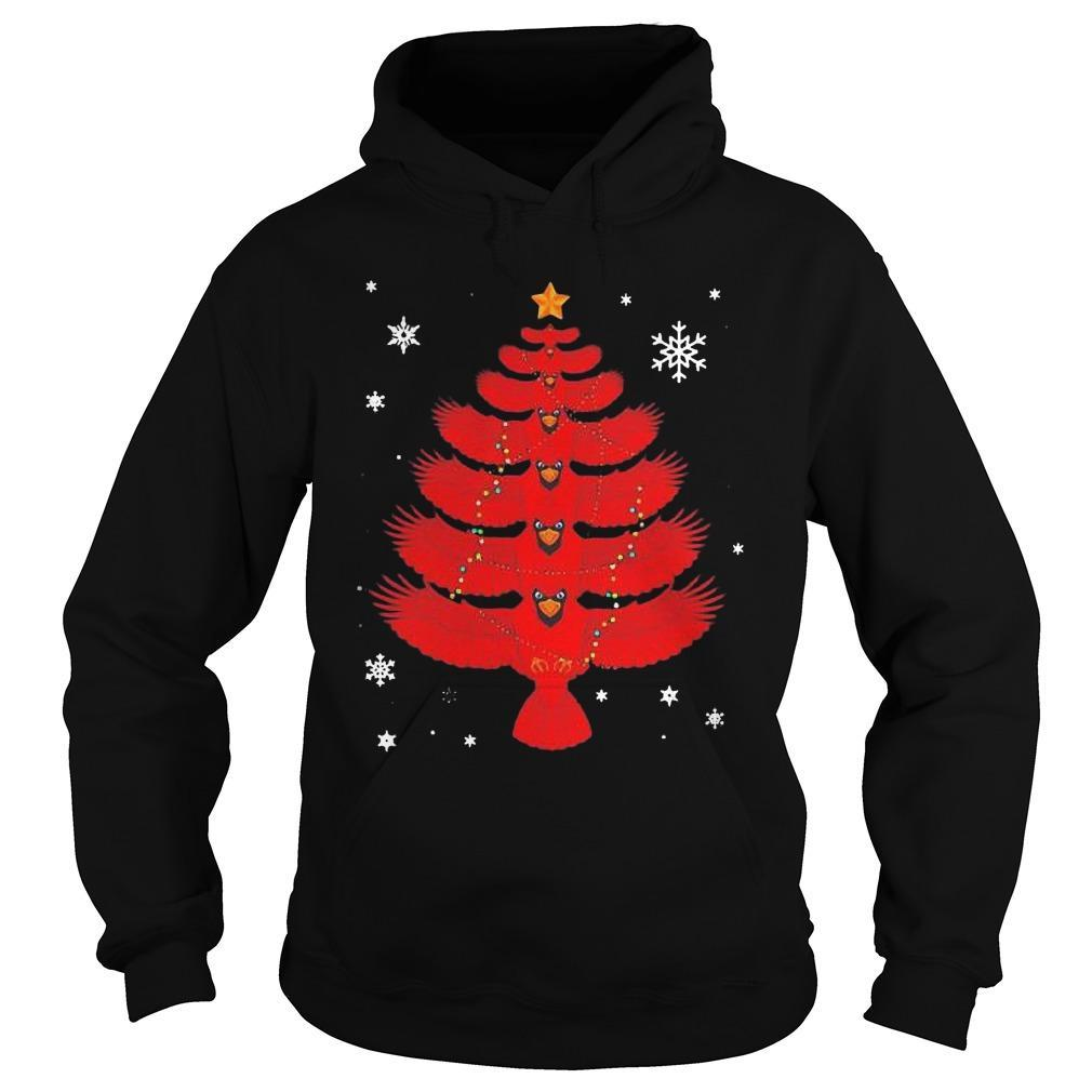 Cardinal Christmas Lights Tree Hoodie