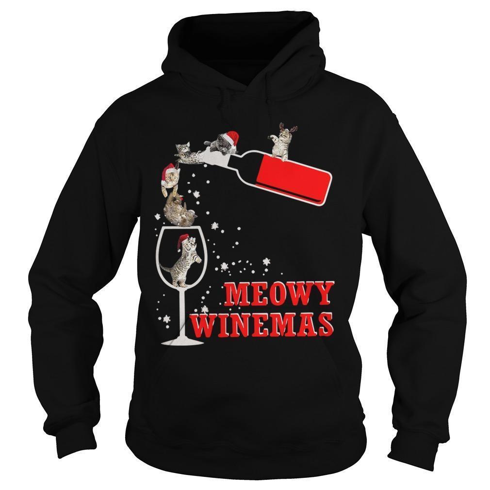Christmas Meowy Winemas Hoodie