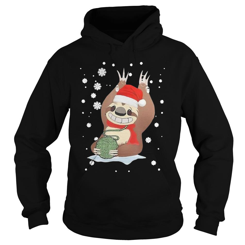 Christmas Mountain Sloth Knitting Hoodie