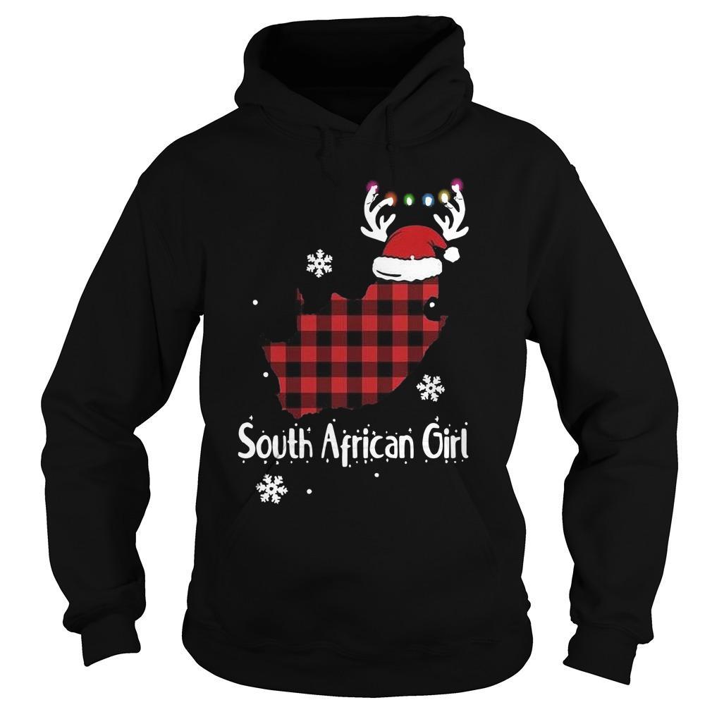 Christmas Santa Reindeer South African Girl Hoodie