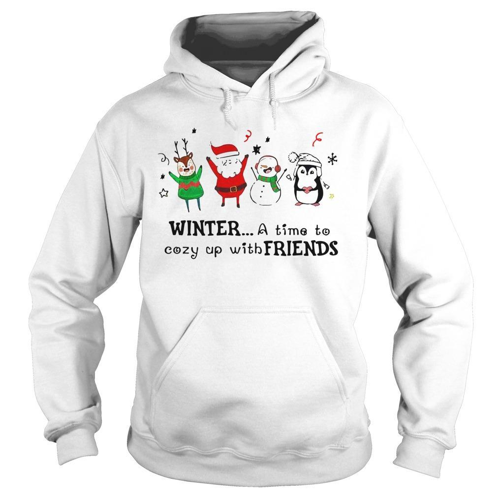 Christmas Santa Snowman Penguins Winter A Time To Cozy Up With Friends Hoodie