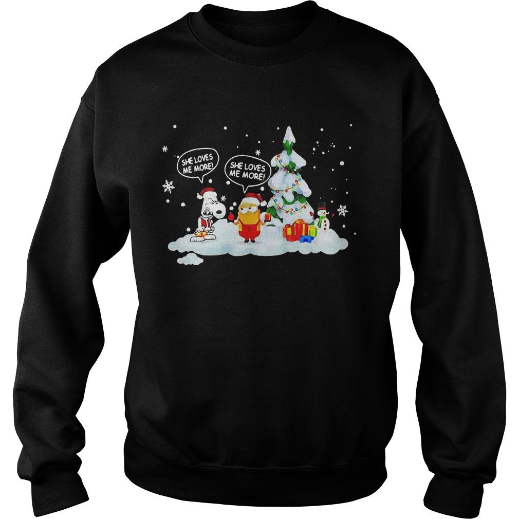 Christmas Snoopy And Minions She Loves Me More Sweater