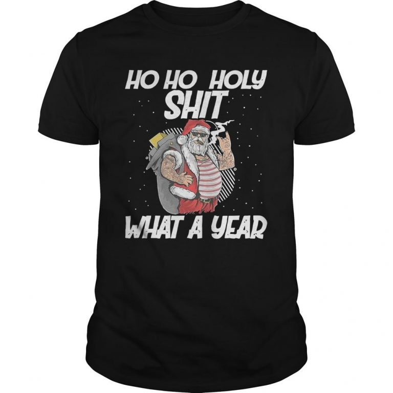 Christmas Tattoo Santa Claus With Glasses Ho Ho Holy Shit What A Year Shirt