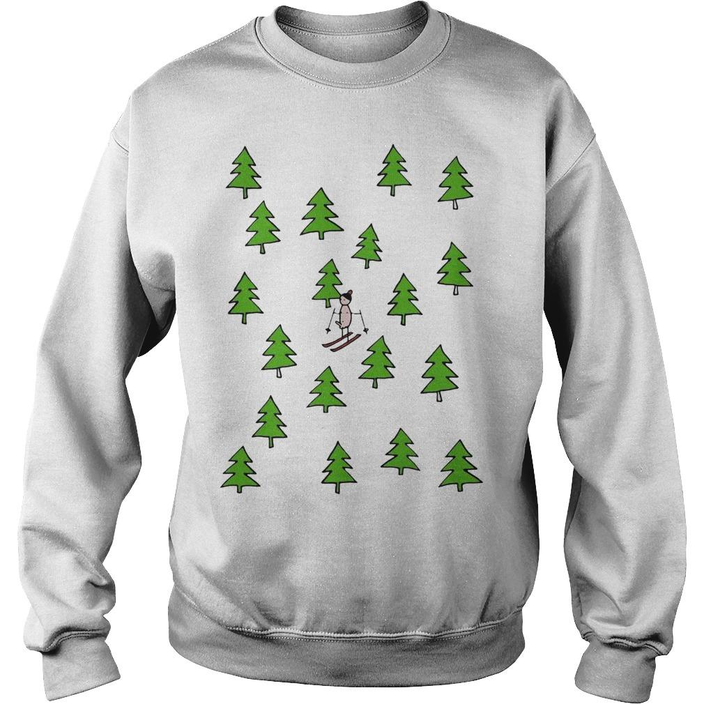 Christmas Tree Ski Equipment Sweater