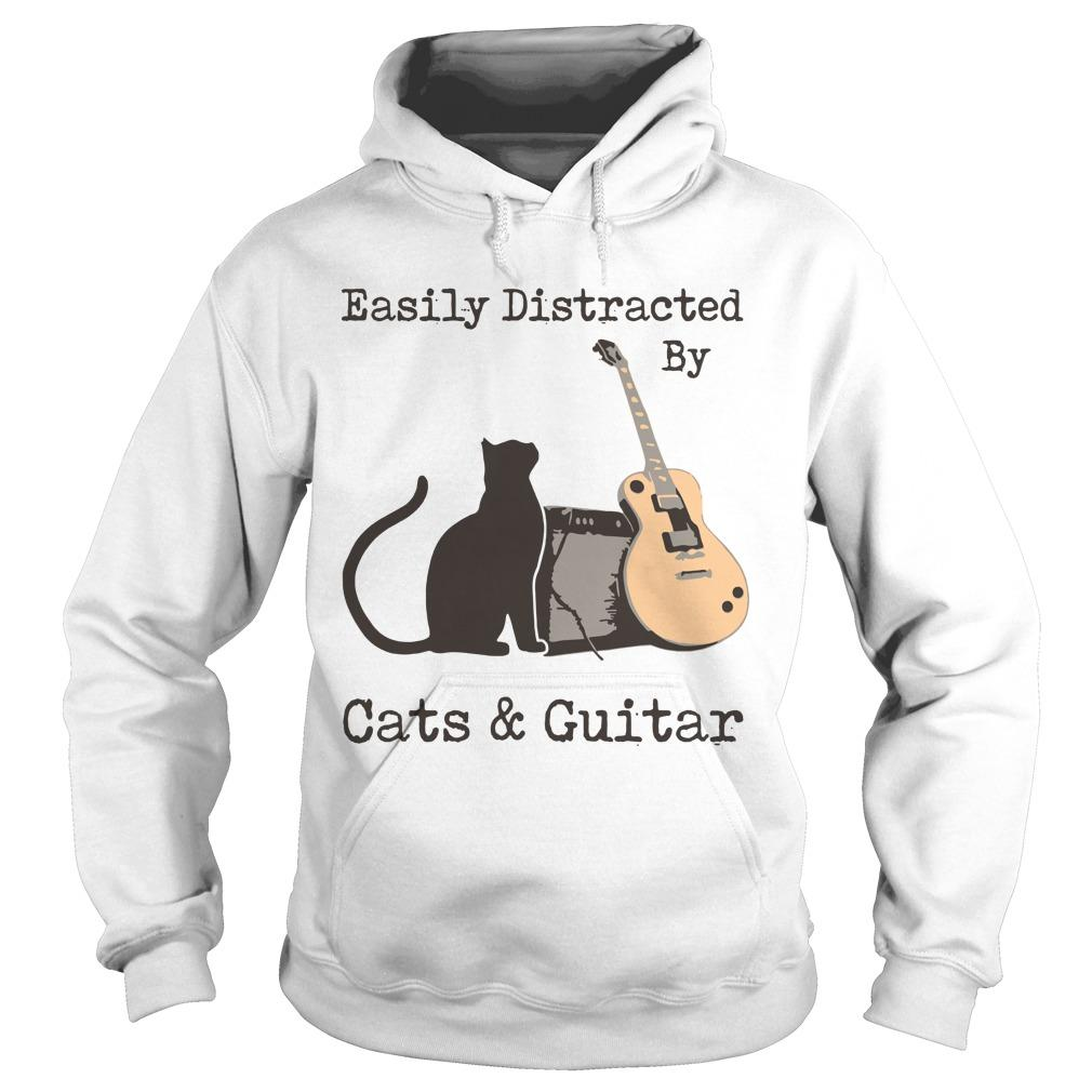 Easily Distracted By Cats And Guitar Hoodie