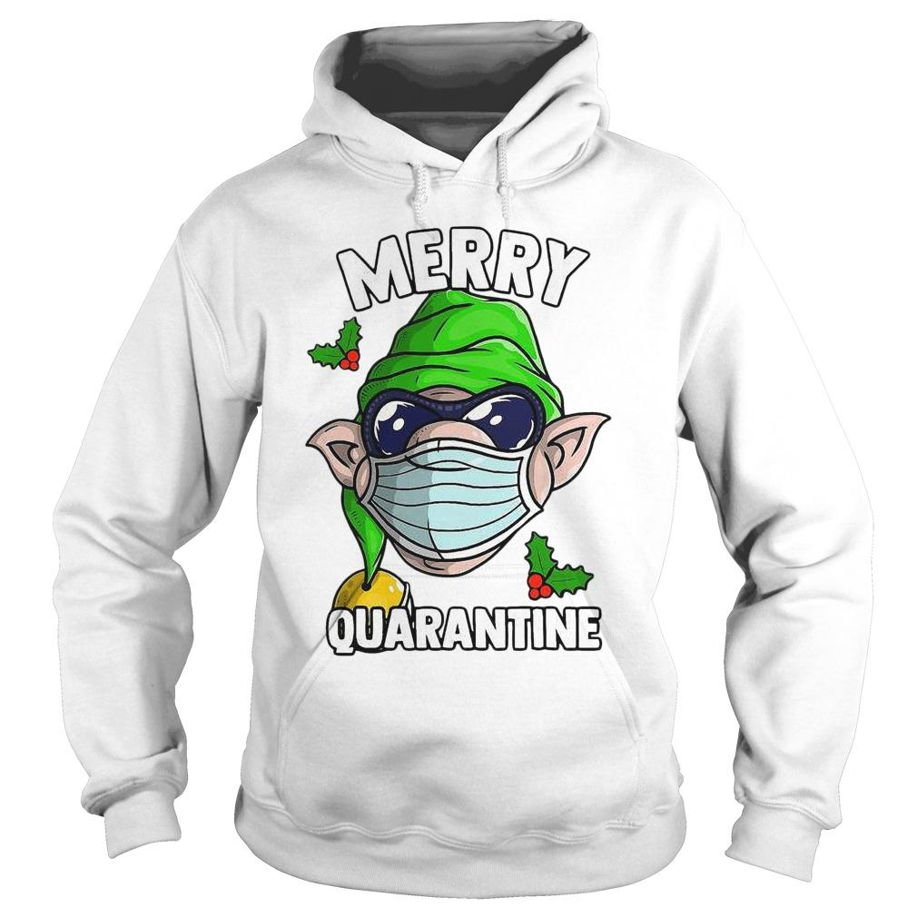 Elf Wearing Mask Merry Quarantine Hoodie