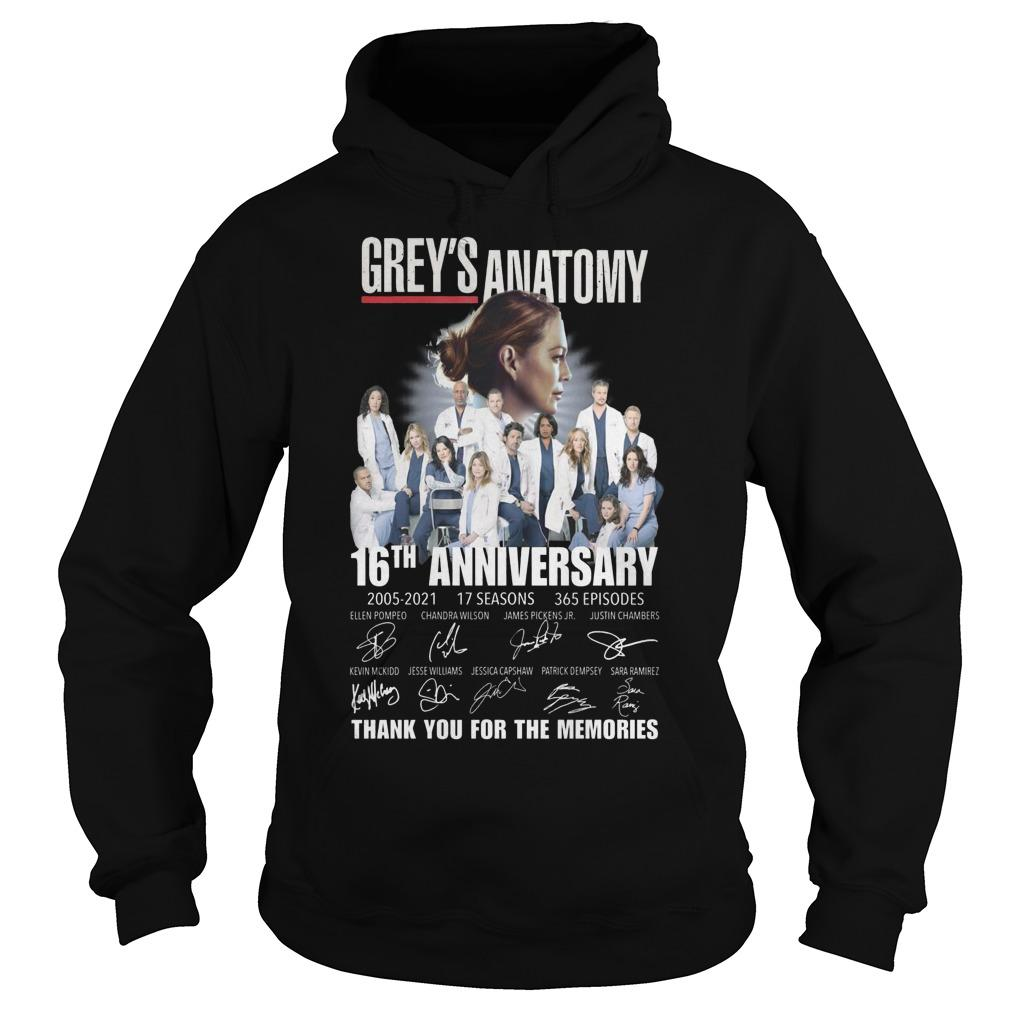 Grey's Anatomy 16th Anniversary Thank You For The Memories Hoodie