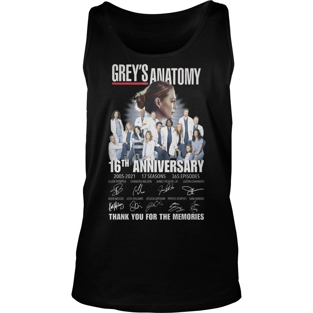 Grey's Anatomy 16th Anniversary Thank You For The Memories Tank Top