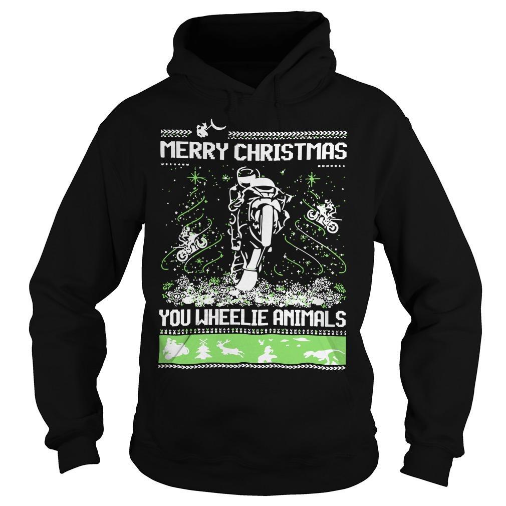 Merry Christmas You Wheelie Animals Hoodie