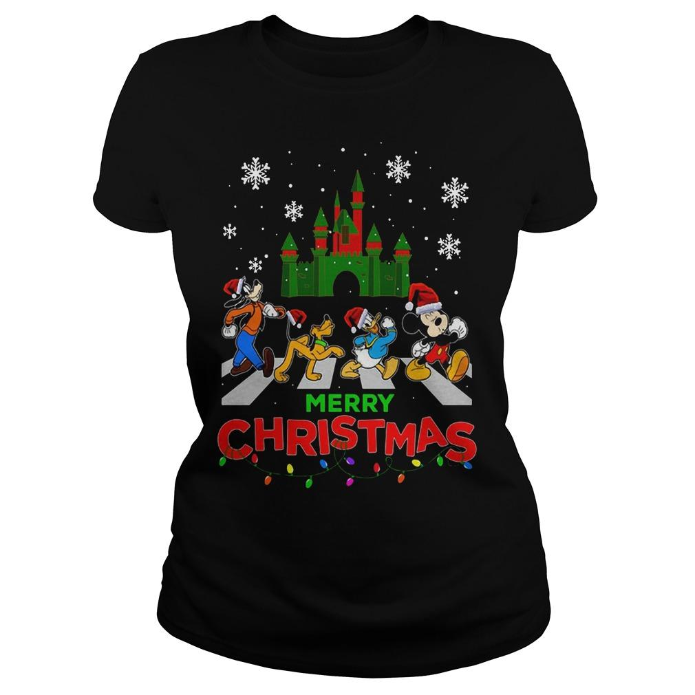 Mickey Mouse Walking Abbey Road Merry Christmas Longsleeve