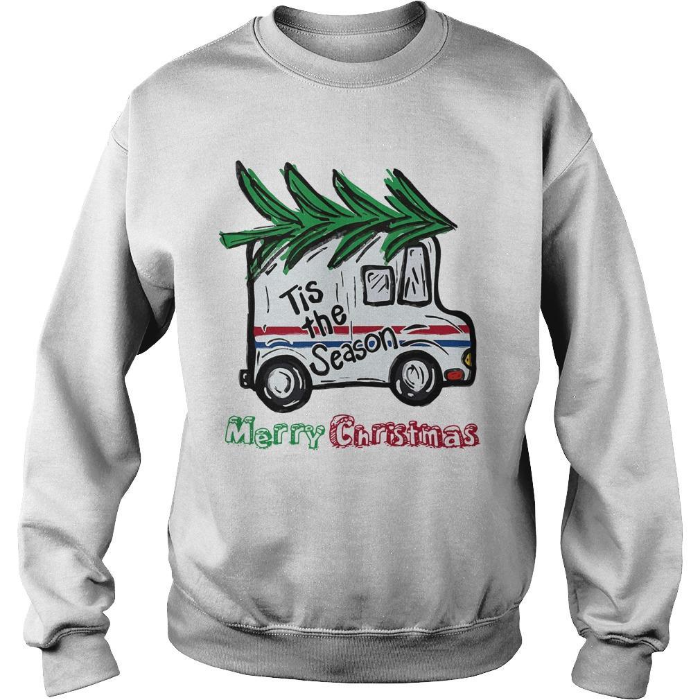 Postal Car Tis The Season Merry Christmas Sweater