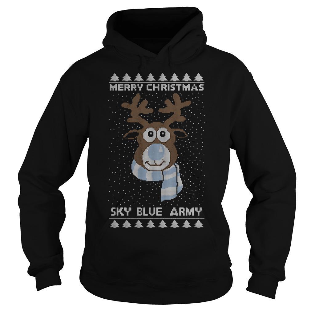 Reindeer Merry Christmas Sky Blue Army Hoodie