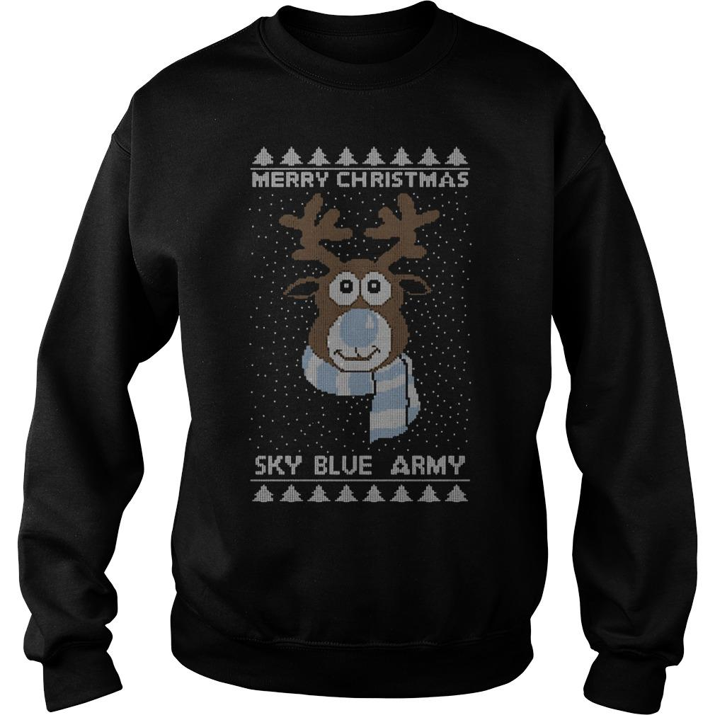 Reindeer Merry Christmas Sky Blue Army Sweater