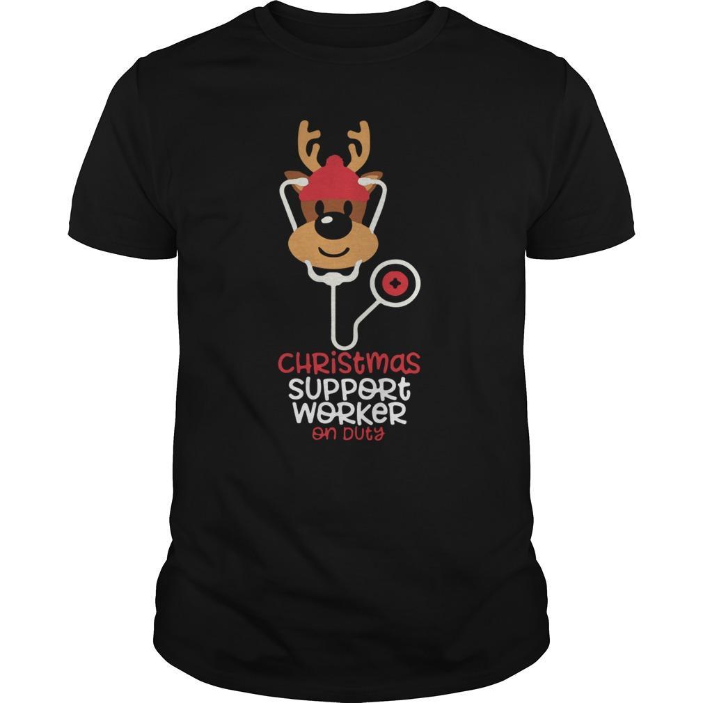Reindeer Nurse Christmas Support Worker On Duty Longsleeve
