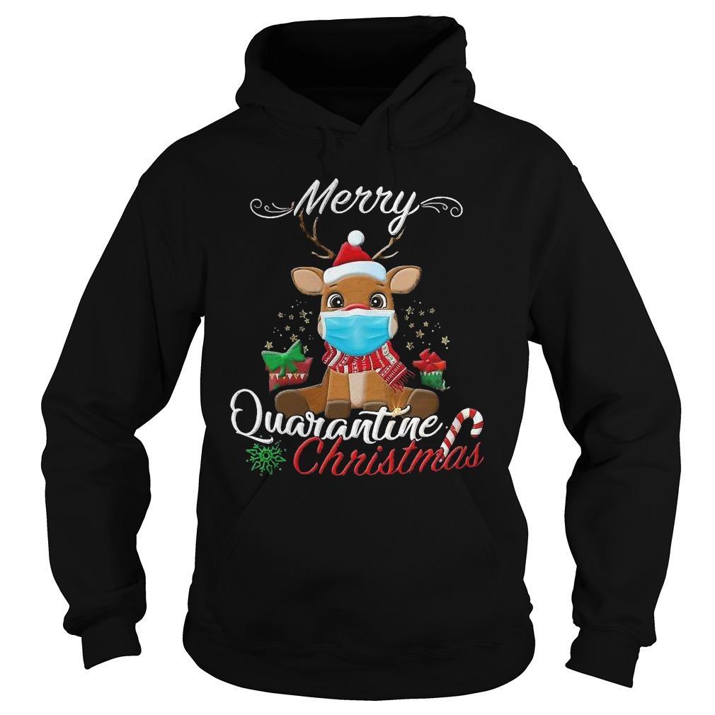 Rudolph Reindeer Face Mask Merry Quarantine Christmas Hoodie