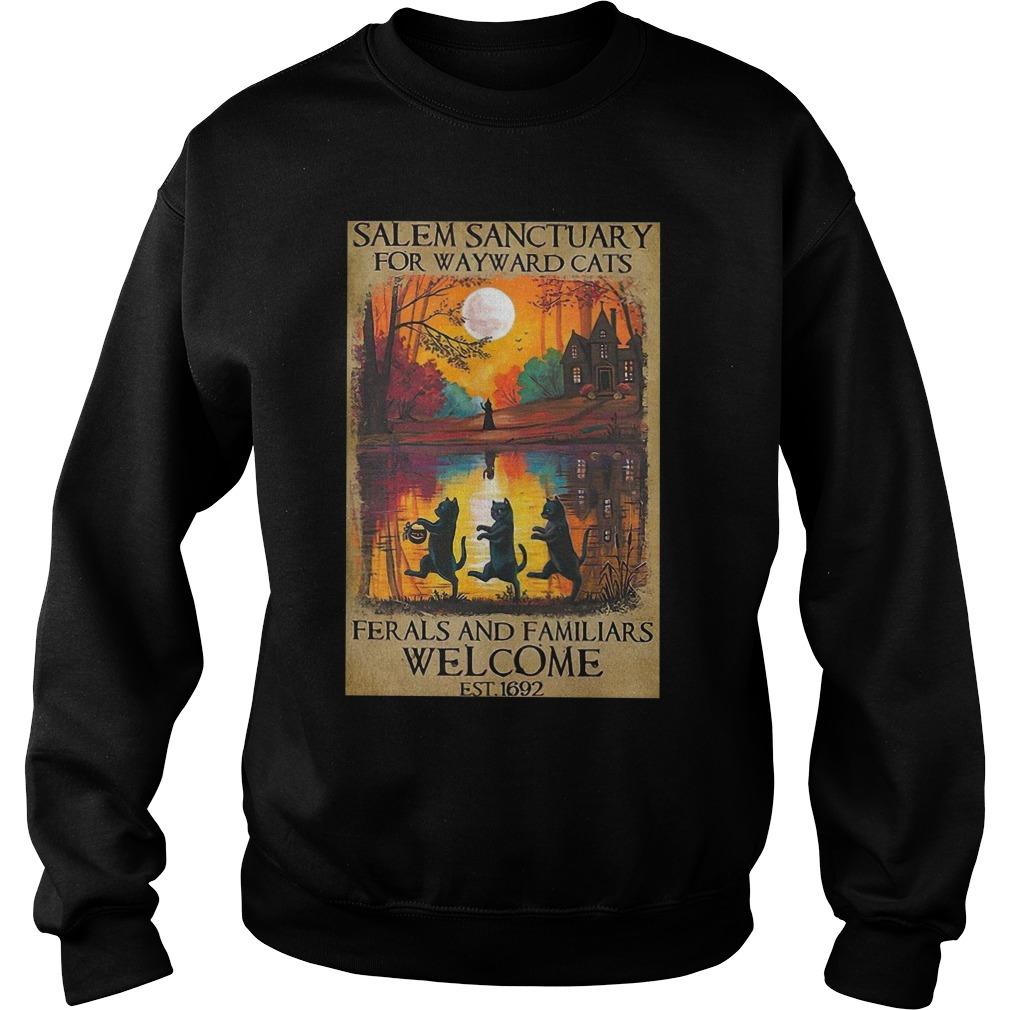 Salem Sanctuary For Wayward Cats Ferals And Familiars Welcome Est 1692 Sweater