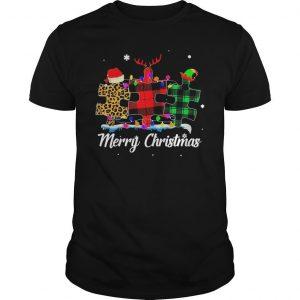 Santa Autism Light Merry Christmas Shirt