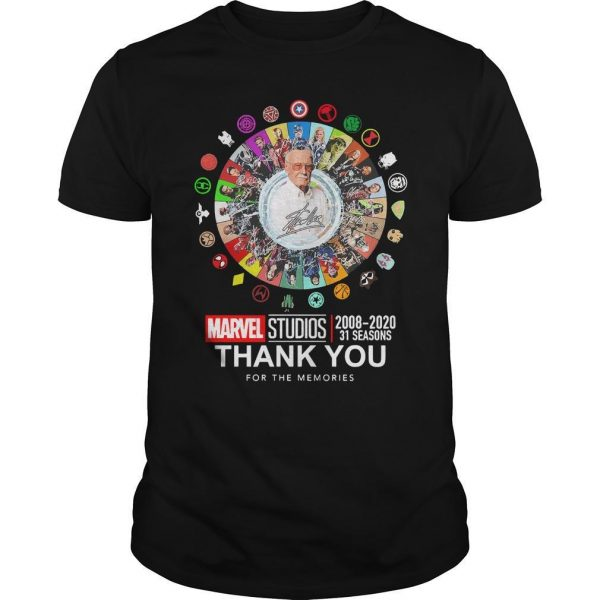 Stan Lee Marvel Studios 2008 2020 31 Seasons Thank You For The Memories Shirt