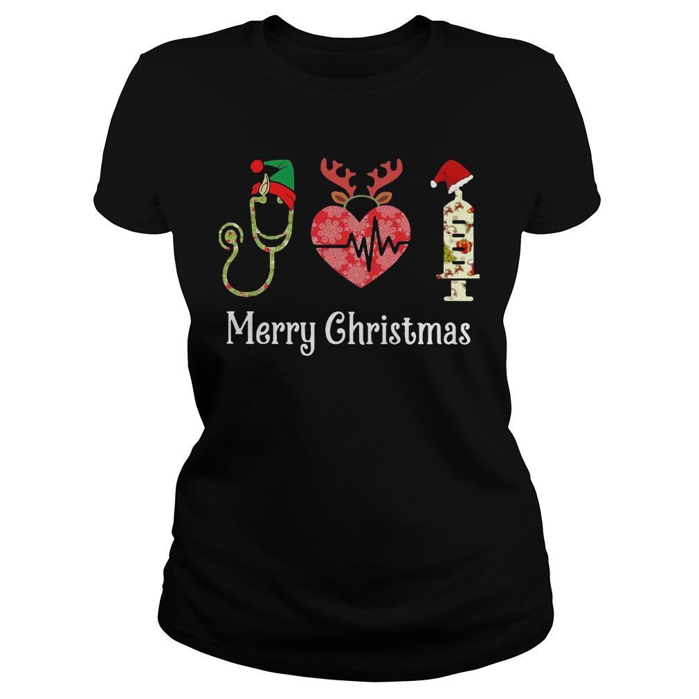 Stethoscope Heart Merry Christmas Longsleeve