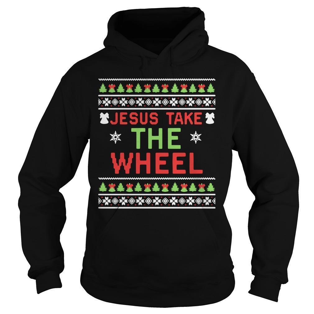 Ugly Christmas Jesus Take The Wheel Hoodie