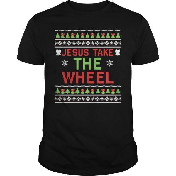 Ugly Christmas Jesus Take The Wheel Shirt