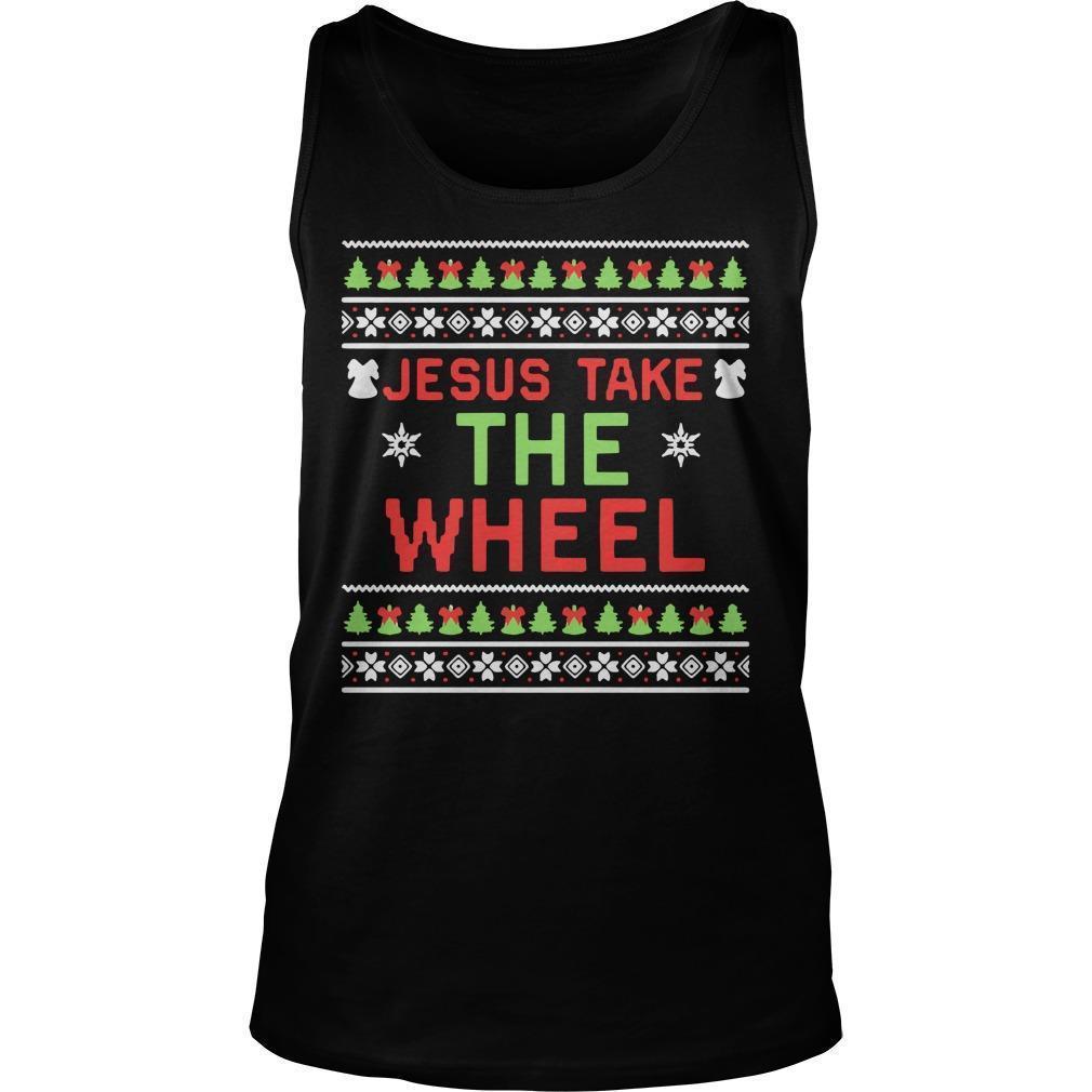 Ugly Christmas Jesus Take The Wheel Tank Top