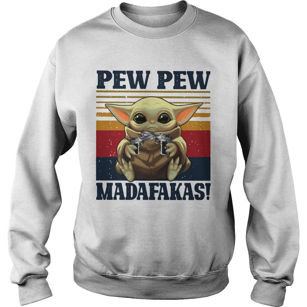 Vintage Gun Baby Yoda Pew Pew Madafakas Sweater