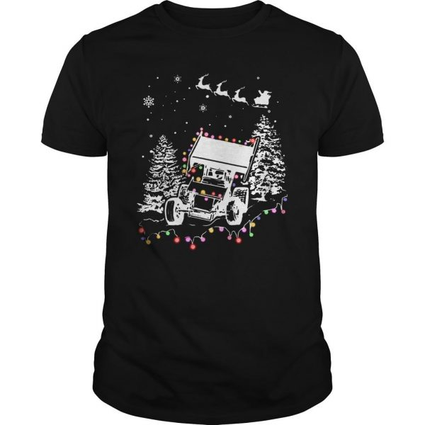 Winged Sprint Cars With Tree Christmas Lights Shirt