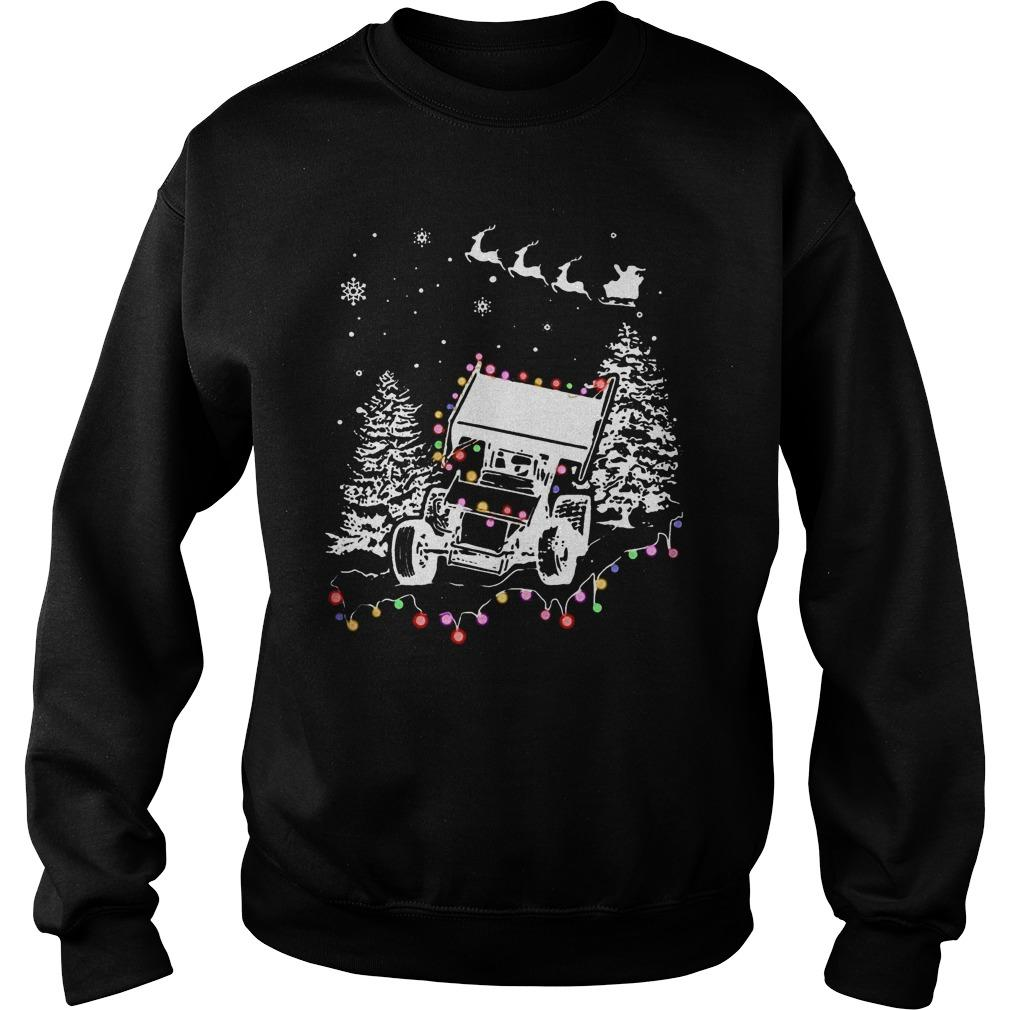 Winged Sprint Cars With Tree Christmas Lights Sweater