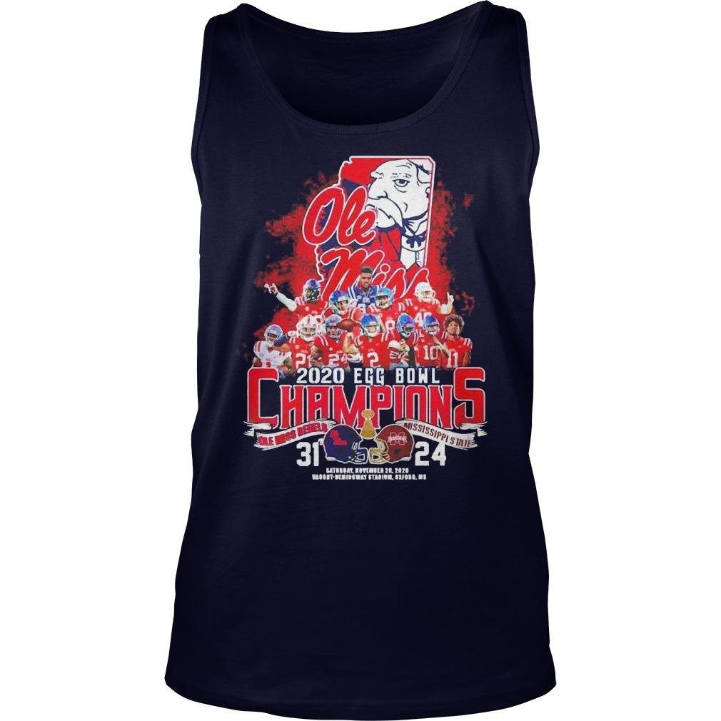 2020 Egg Bowl Champions Ole Miss Rebels Mississippi State 31 24 Tank Top