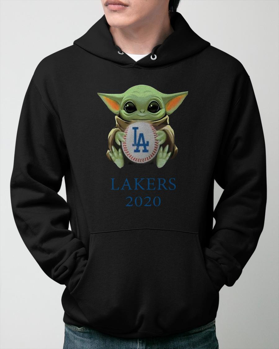 Baby Yoda Hug Los Angeles Lakers 2020 Hoodie